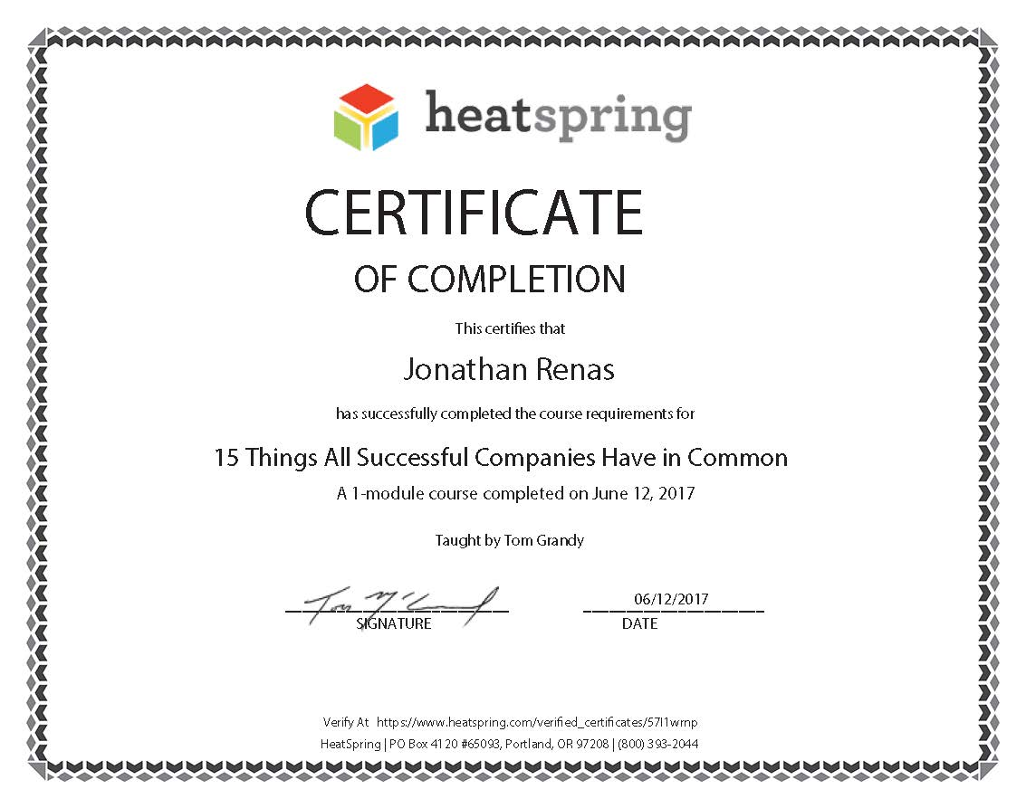 Certificates advance solar and spa jon renas 15 succesfull things companies have in common 1betcityfo Choice Image