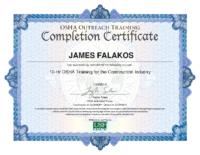 Falakos OSHA Certificate