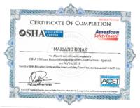 Mariano R OSHA 10b Cert