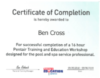 Ben Cross Pentair Cert
